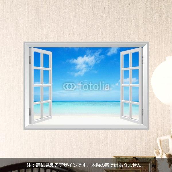 【インテリアシール】窓から見た沖縄のビーチ 壁シール