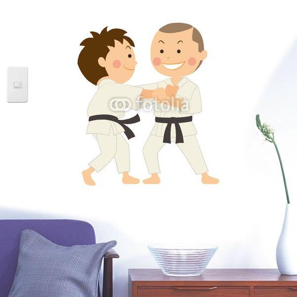 【インテリアシール】柔道を楽しむ二人 壁シール