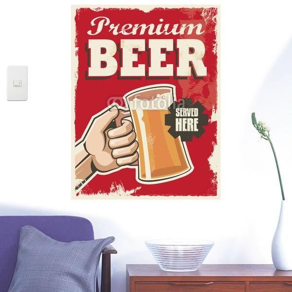 【インテリアシール】ビールで至福の一杯 壁シール