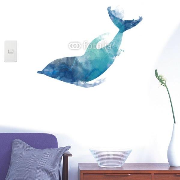 【インテリアシール】青いイルカ 壁シール