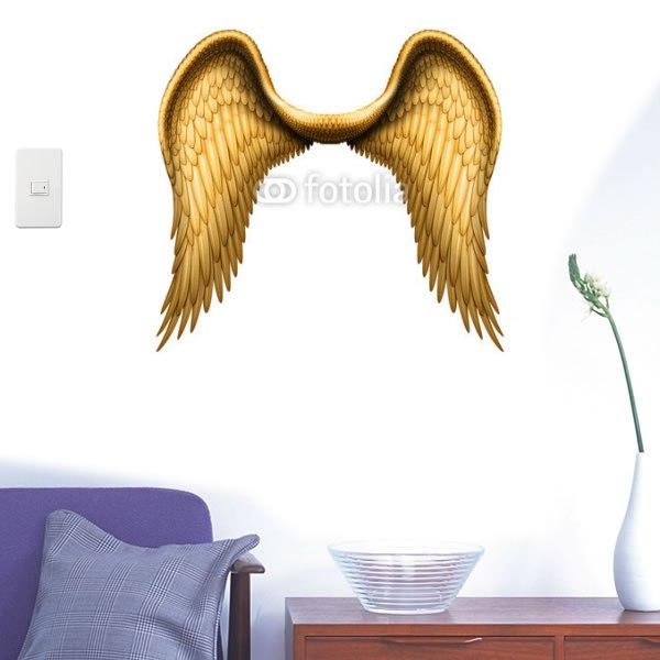 【インテリアシール】黄金の羽根 壁シール