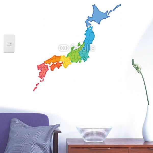 【インテリアシール】筆で書いた日本地図 壁シール