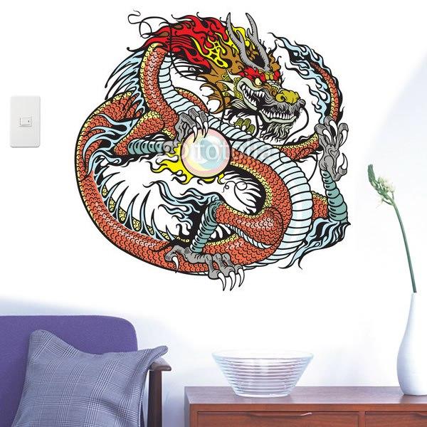 【インテリアシール】龍と真珠 壁シール