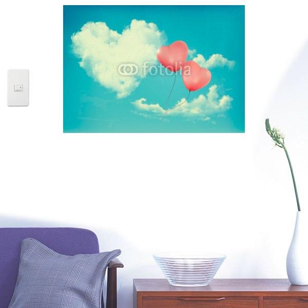 【インテリアシール】ハートの雲と風船 壁シール