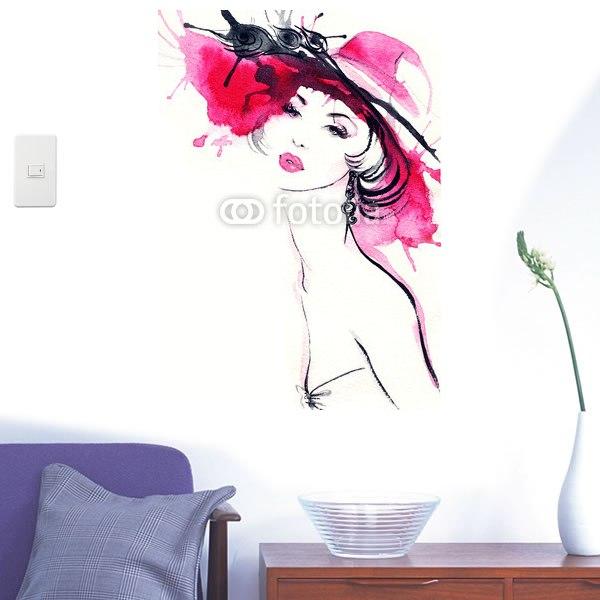 【インテリアシール】赤い帽子の女性 壁シール