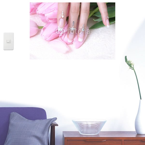 【インテリアシール】ピンクのキラキラハンドネイル 壁シール